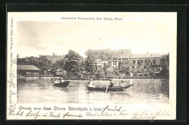 old postcard: AK Solingen - Wald, Gasthaus Itterthaler Volksgarten