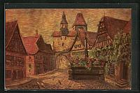 old postcard: Künstler-AK Degi Nr. 1460: Rothenburg / Tauber, Ortspartie am Torbogen