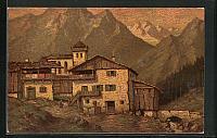 old postcard: Künstler-AK Degi Nr. 1398: Bergdorf, Ortspartie im Gebirge