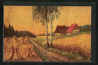 old postcard: Künstler-AK Degi Nr. 1456: Getreidefelder und Bauernhaus im Hochsommer
