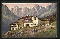 old postcard: Künstler-AK Degi Nr. 1399: Gebirgspanorama mit Berggehöfte