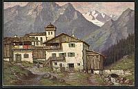 old postcard: AK Degi Nr. 1398: hübsche Häuser im Bergdorf