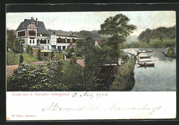 old postcard: AK Solingen / Wald, Gasthaus im Ittertaler Volksgarten