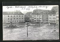 old postcard: AK Hochwasser Pegnitz Nürnberg am 05. Februar 1909, auf dem Marktplatz