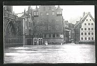 old postcard: AK Hochwasser Nürnberg am 05. Februar 1909, Frauenkirche am Hauptmarkt