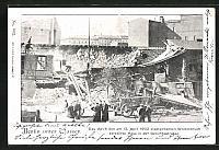 old postcard: AK Berlin, Hochwasser, Zerstörtes Haus in der Gerichtsstraße, Wolkenbruch am 13. April 1902