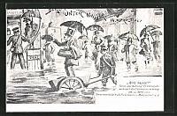 old postcard: AK Berlin, Hochwasser, Szene am Bahnhof Friedrichstraße während der Überschwemmung am 14. April 1902