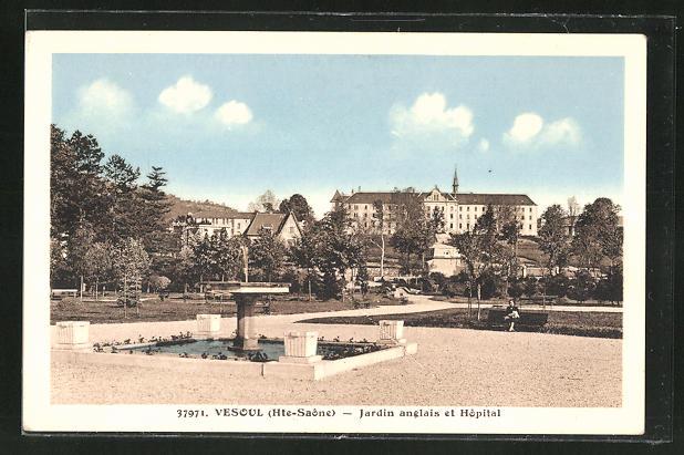 Cpa Vesoul Jardin Anglais Et Hopital 8379554 Cartes Postales