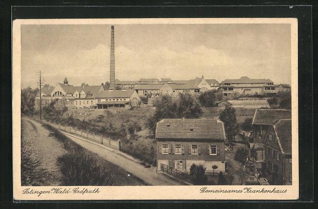 old postcard: AK Solingen-Wald-Gräfrath, Gemeinsames Krankenhaus