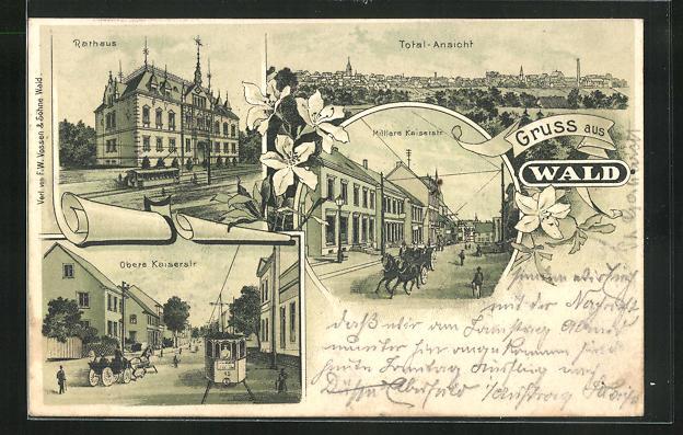 old postcard: Lithographie Wald / Solingen, Obere Kaiserstrasse mit Strassenbahn, Rathaus, Ortsansicht