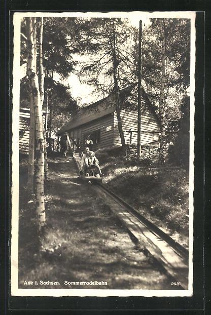 old postcard: AK Aue i. Sachsen, Start der Sommerrodelbahn, Volksfest