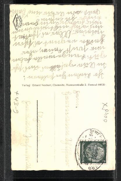 old postcard: back side: AK Aue i. Sachsen, Start der Sommerrodelbahn, Volksfest