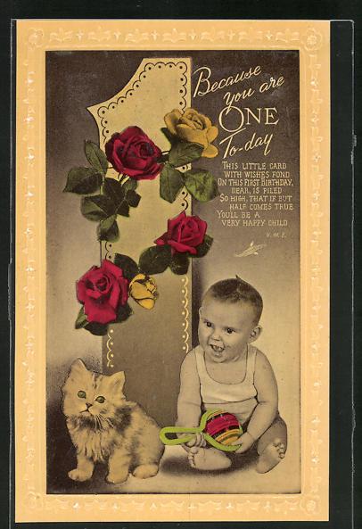 AK Kleinkind mit Rassel und Katze, Glückwunsch zum 1